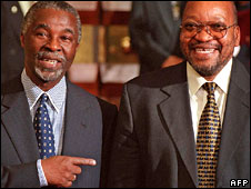 Thabo Mbeki pointing at Jacob Zuma