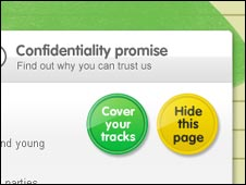 Screengrab of ChildLine homepage, NSPCC