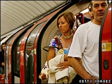 Commuters squeeze on the Tube