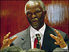 Thabo Mbeki, pictured on 11 September 2008