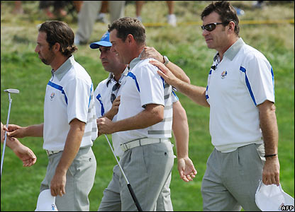 Faldo congratulates his players
