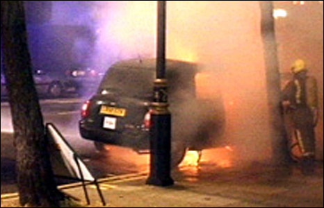 Black cab on fire