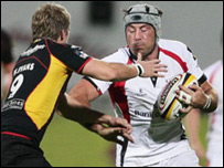 Wayne Evans (left) and Ulster's Kieron Dawson