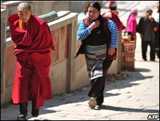 A Tibetan Buddhist monk in Qinghai province, file image