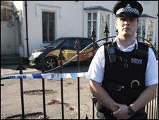 The scene of stabbing in Brixton