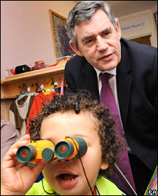 Prime Minister Gordon Brown meets children at Old Moat Sure Start Children's Centre in Withington, south Manchester, on the first day of the Labour Party annual conference