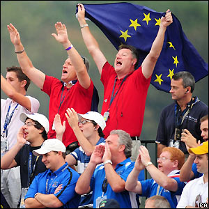 Europe fans cheer on their team