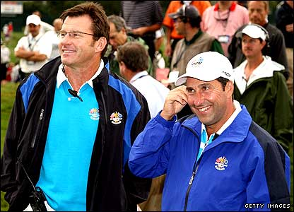 Europe captain Nick Faldo and his assistant Jose Maria Olazabal share a joke