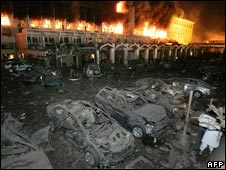 Marriott hotel cars in blast