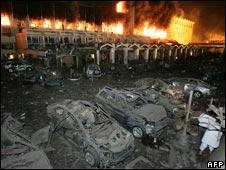 Marriott hotel cars in blast