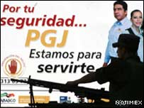 Afiche de campa�a de la polic�a mexicana
