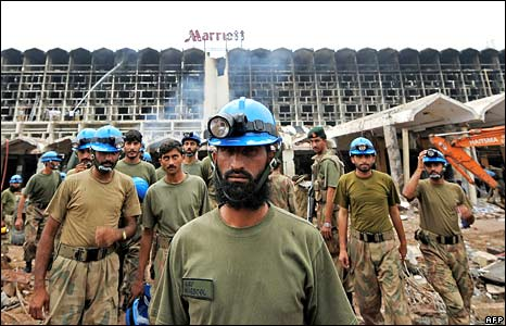 Pakistani army soldiers at the Marriott Hotel bomb site in Islamabad