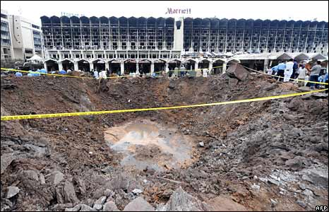 Bomb crater outside Marriott Hotel in Islamabad