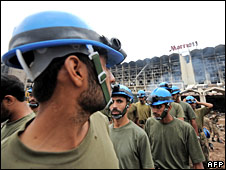 Pakistani army soldiers at Marriott Hotel bomb site, Islamabad