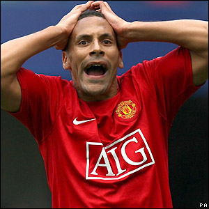 Ferdinand reacts to his missed chance