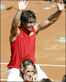 Spain's Rafael Nadal celebrates the win