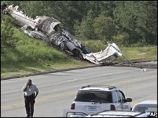 The wreckage of the Learjet