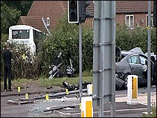 Scene of crash at Staxton