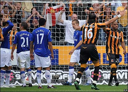 Hull celebrate their second goal