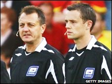 Assistant referee Nigel Bannister (left) and referee Stuart Atwell