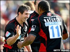 Kevin Sorrell celebrates his opening try for Saracens