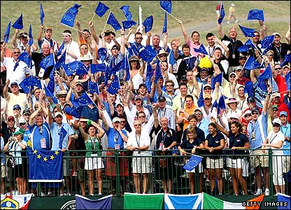 European fans show their support on the first tee