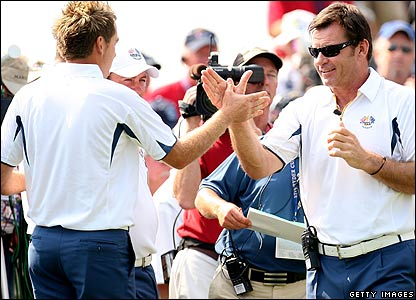 Ian Poulter and Nick Faldo