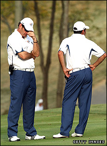 Nick Faldo (left) and Jose Maria Olazabal