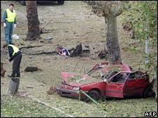 Spanish police at the site of the blast in Santona
