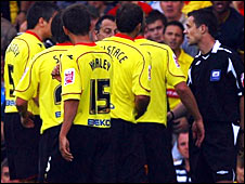 Watford's players failed to get the decision changed after confronting the referee and linesman