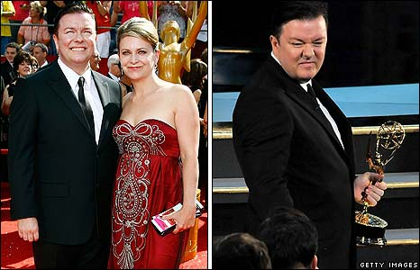 Ricky Gervais, pictured left with partner Jane Fallon