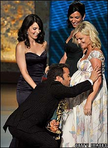 Jeremy Piven with Tina Fey and Amy Poehler