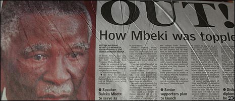"Front page of South African Sunday Times saying ""OUT!"" alongside photo of Thabo Mbeki"
