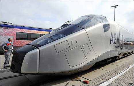 Alstom's new AGV high speed train at the International Trade Fair for Transport Technology in Berlin, Germany