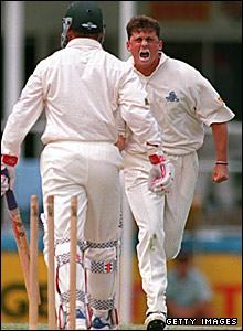 Darren Gough bowls Australia's David Boon in Brisbane