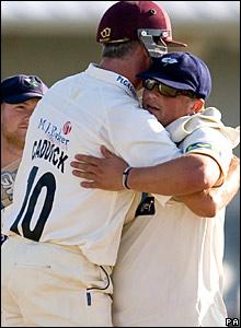 Andy Caddick hugs Darren Gough