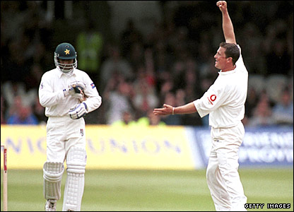 Darren Gough removes Rashid Latif at Lord's to collect his 200th Test wicket
