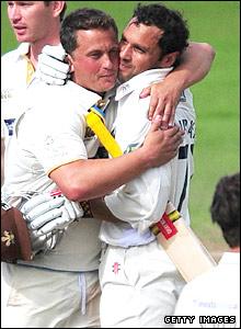 Darren Gough hugs Mark Ramprakash after his former England team-mates scores his 100th hundred