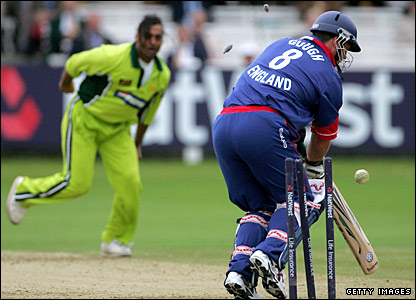 Darren Gough is bowled by Shoaib Akhtar in a one-day match in 2006