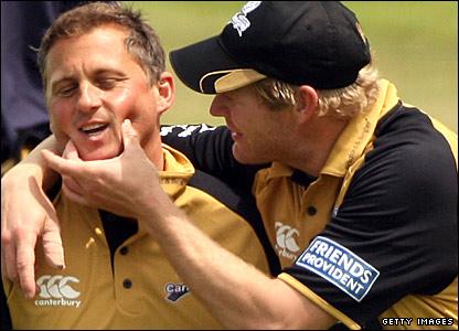 Darren Gough is given a pinch on the cheeks by Matthew Hoggard