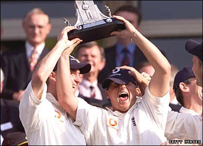 Darren Gough holds aloft the Wisden Trophy