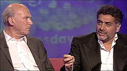 Vince Cable (left) and James Caan