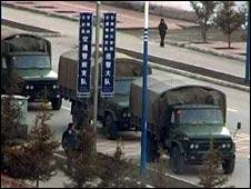 Army trucks in Gansu in March