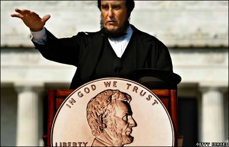 The 2009 Bicentennial one cent coin redesign unveiling in Washington DC