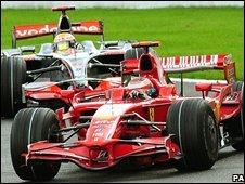 Kimi Raikkonen and Lewis Hamilton