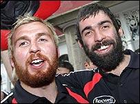 Tyrone players Owen Mulligan and Joe McMahon