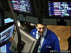A trader at the New York Stock Exchange on 22 September 2008
