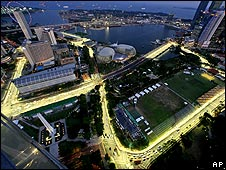 The route of the Singapore Grand Prix circuit is illuminated at night prior to the race weekend