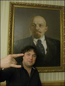 Vadim and a portrait of Lenin