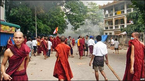 Buddhist monks and protesters in a street in central Yangon, 26 September 2007